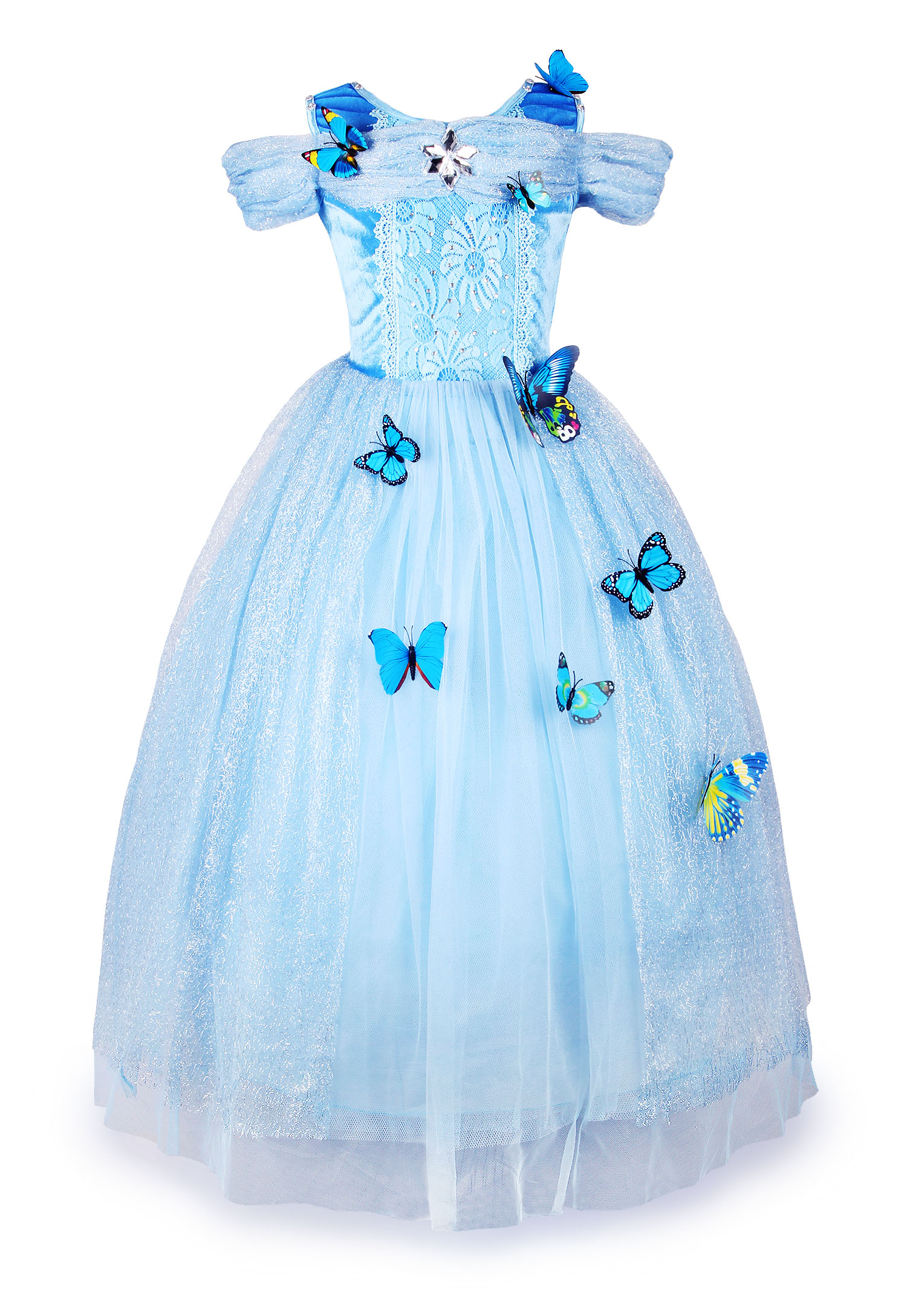 Kids Butterfly Girls Cinderella Princess Fancy Dress Cosplay Costume Party Out
