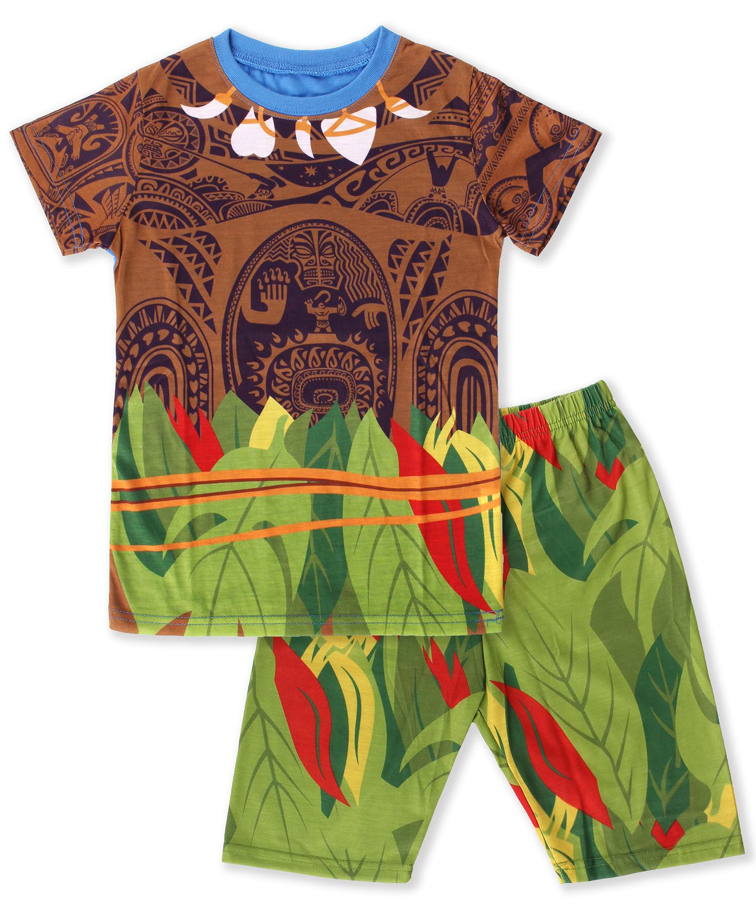 Girls Moana Costume Dress Set Ruffled 2-Piece Pajama Set Sleepwear Dress Pants