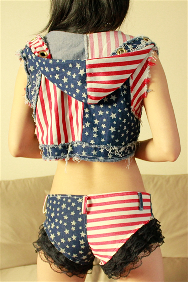 Sexy Denim Lace American Flag Pleated Panty