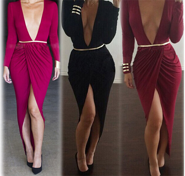 Deep V neck long sleeve sexy dress with belt