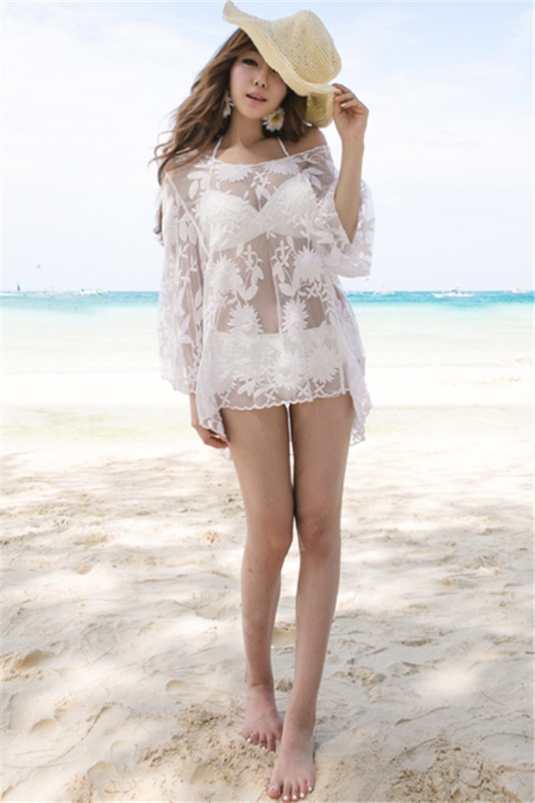 Sexy Lace Long-sleeve Floral Pattern Beachwear White