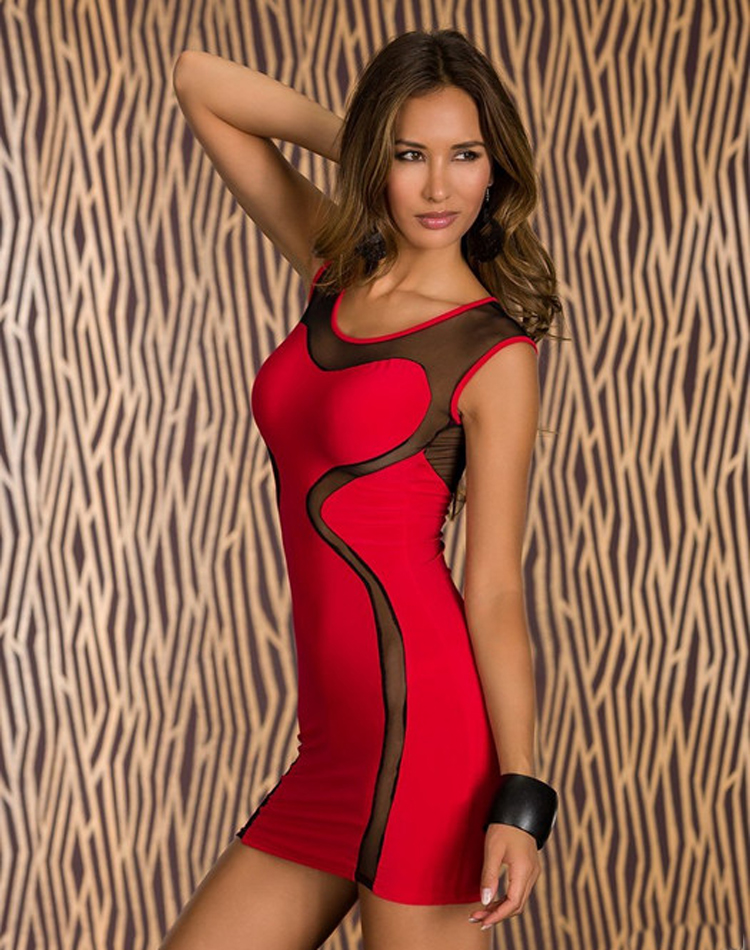 Red Mesh Insert Club Bodycon Mini Dress