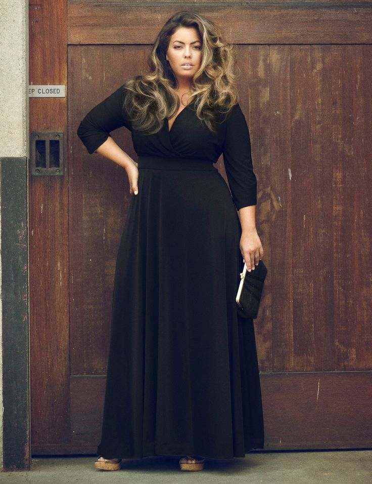 Hot Sale Women Plus Size Deep V Neck Solid Color Maxi Dress Black