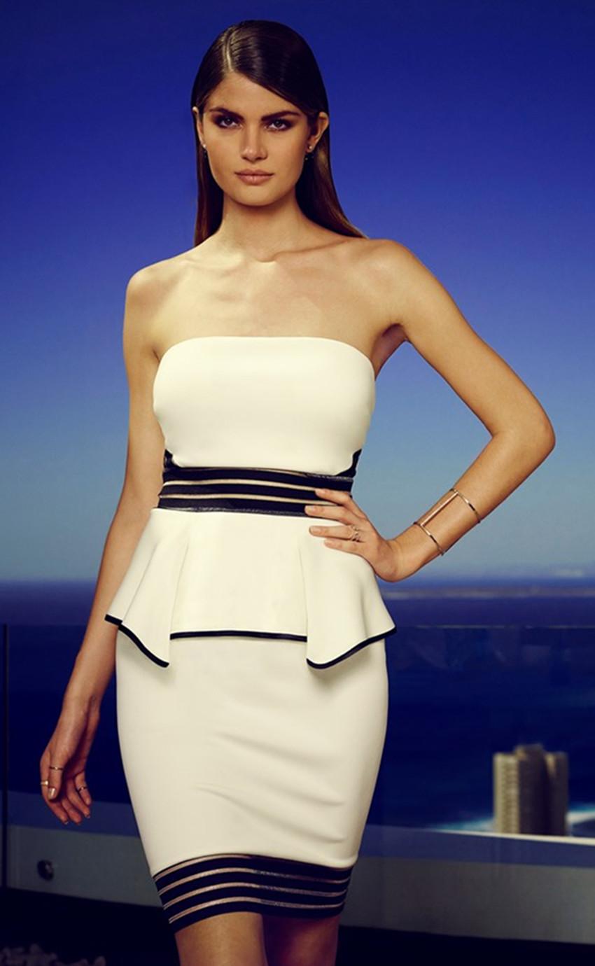 Women Strapless Black Hem Peplum Dress White
