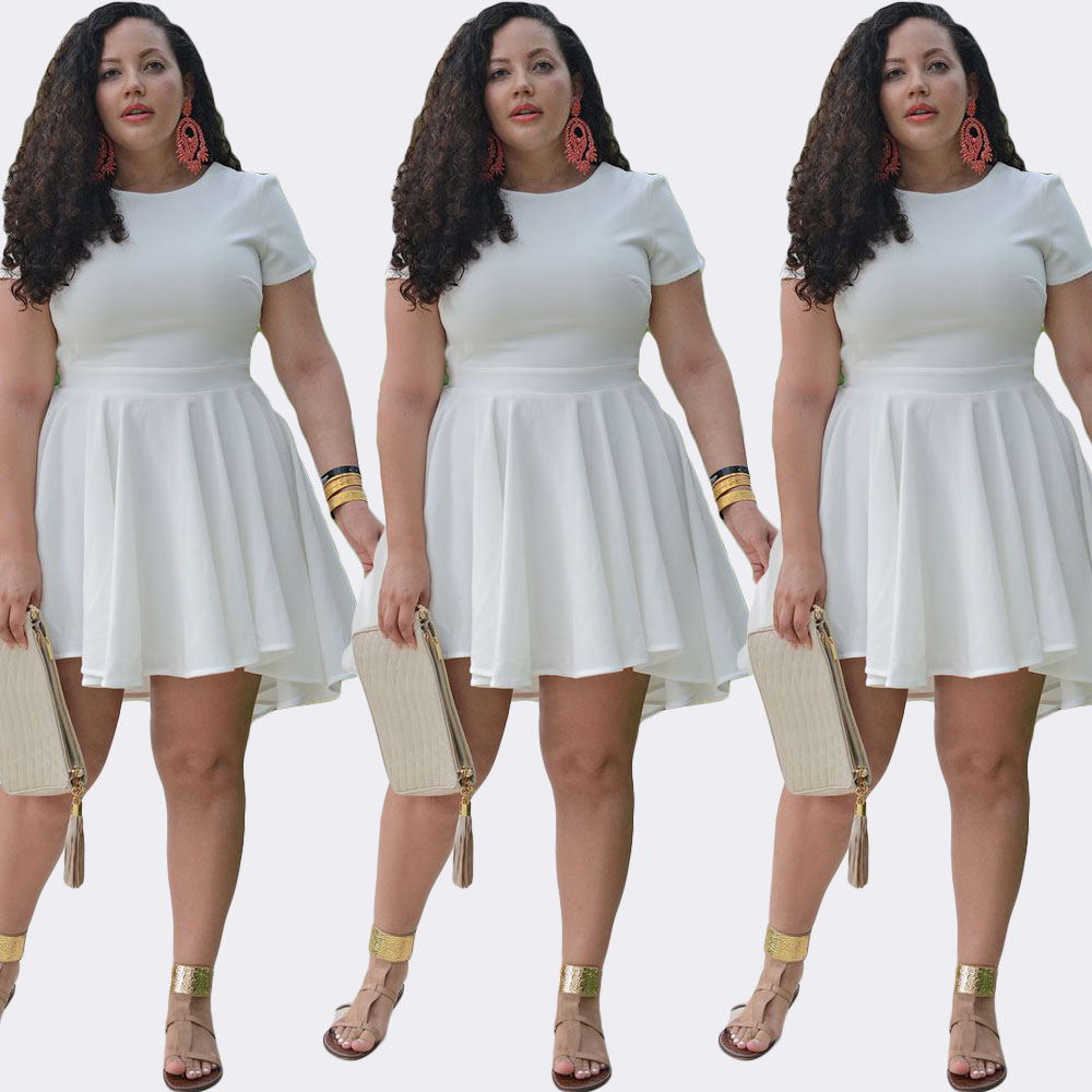 Chiffon Plus Size Skater Dress White