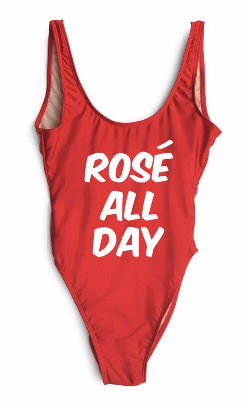 86969b564ae Fashion One Piece Letter Printed Bikini ROSE ALL DAY #SL4595-40