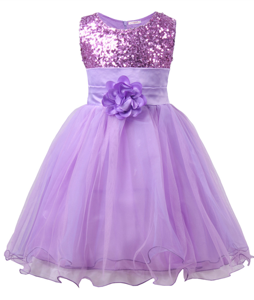 Little Girls\' Sequin Mesh Flower Ball Gown Party Dress Tulle Prom Purple