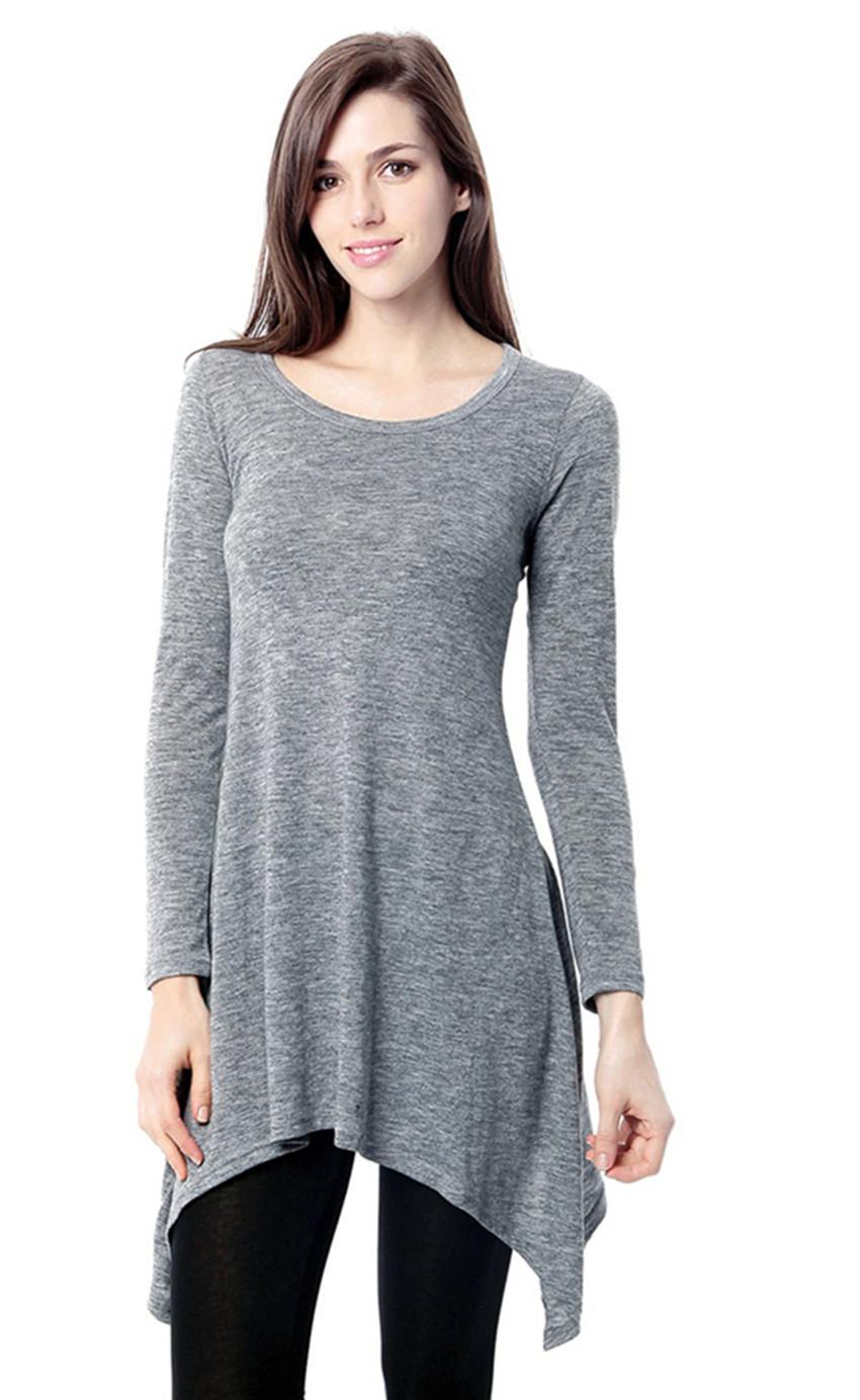 Womens Basic Long Sleeve Casual Loose T Shirt Dress Grey