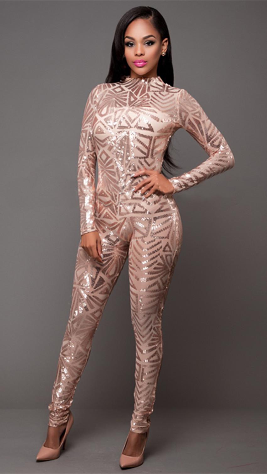 Women Sexy Sequin Jumpsuit Nude Illusion Slim Leg Pants -9263