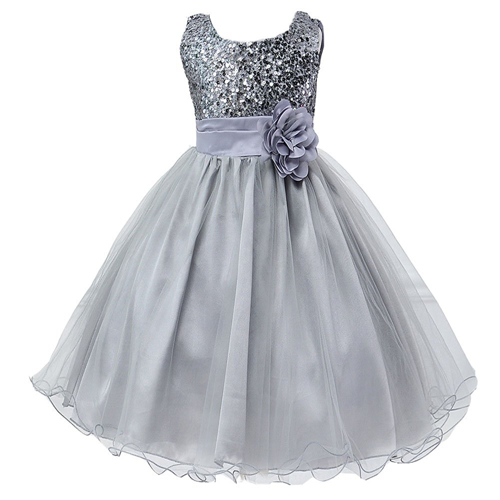 Little Girls\' Sequin Mesh Flower Ball Gown Party Dress Tulle Prom Grey