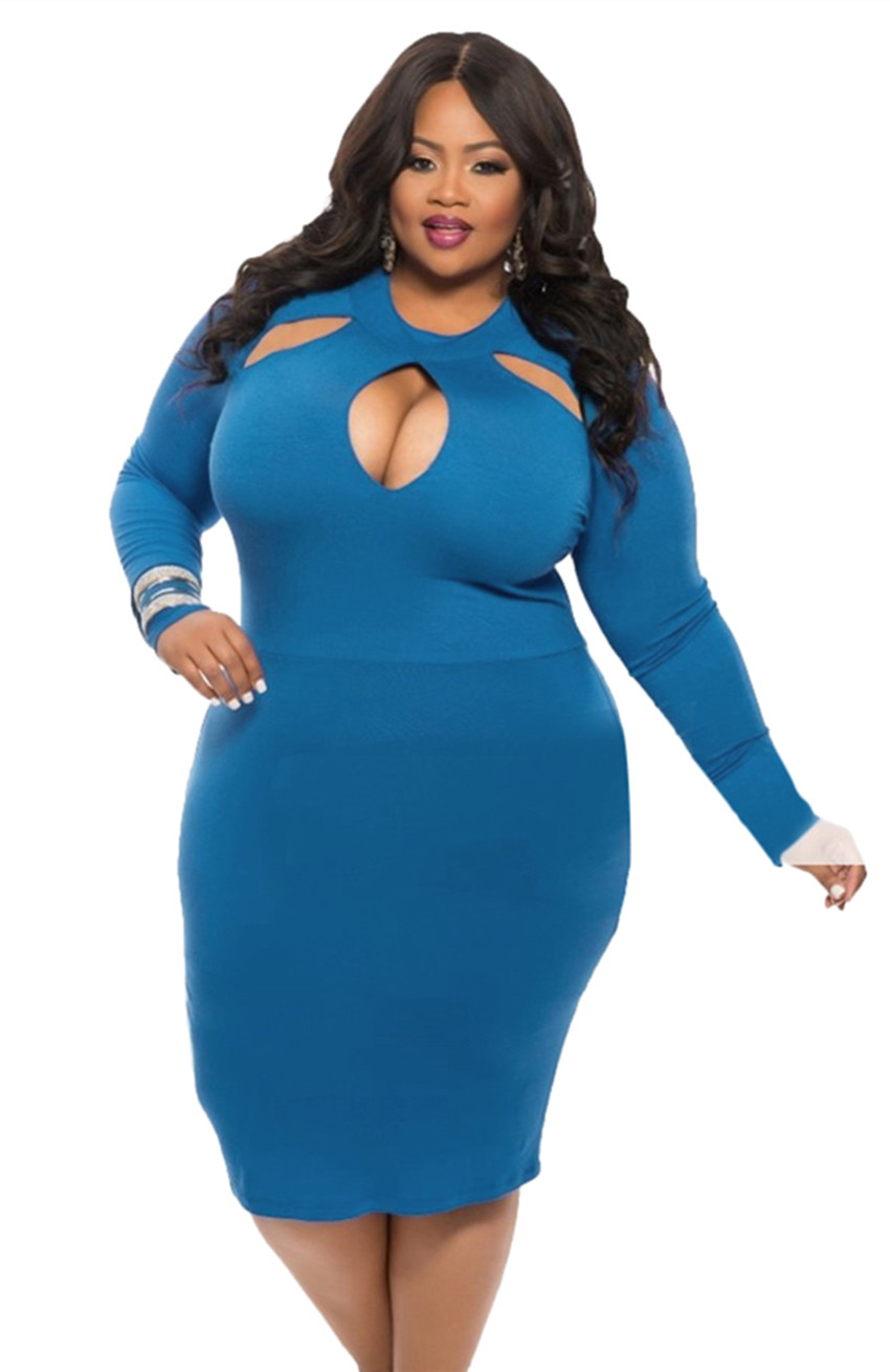 Women Plus Size Sexy Midi Dress Clubwear Party Cocktail Bodycon Blue