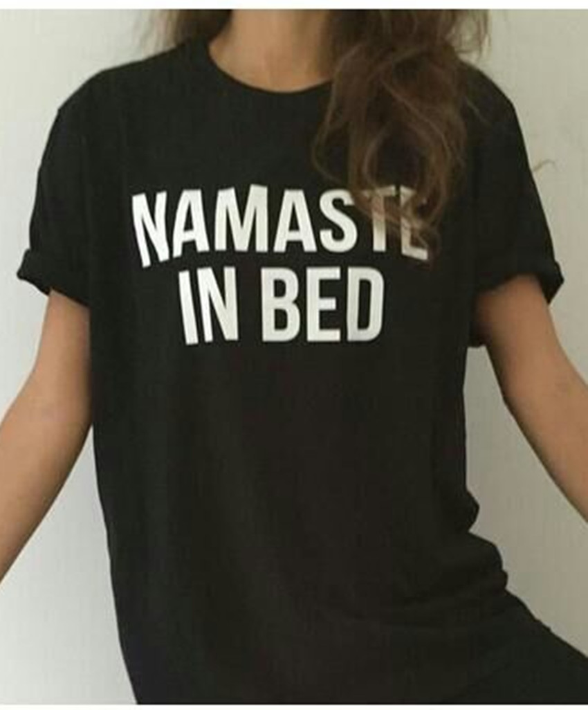 Womens Casual Letter Print T Shirt Namaste In Bed