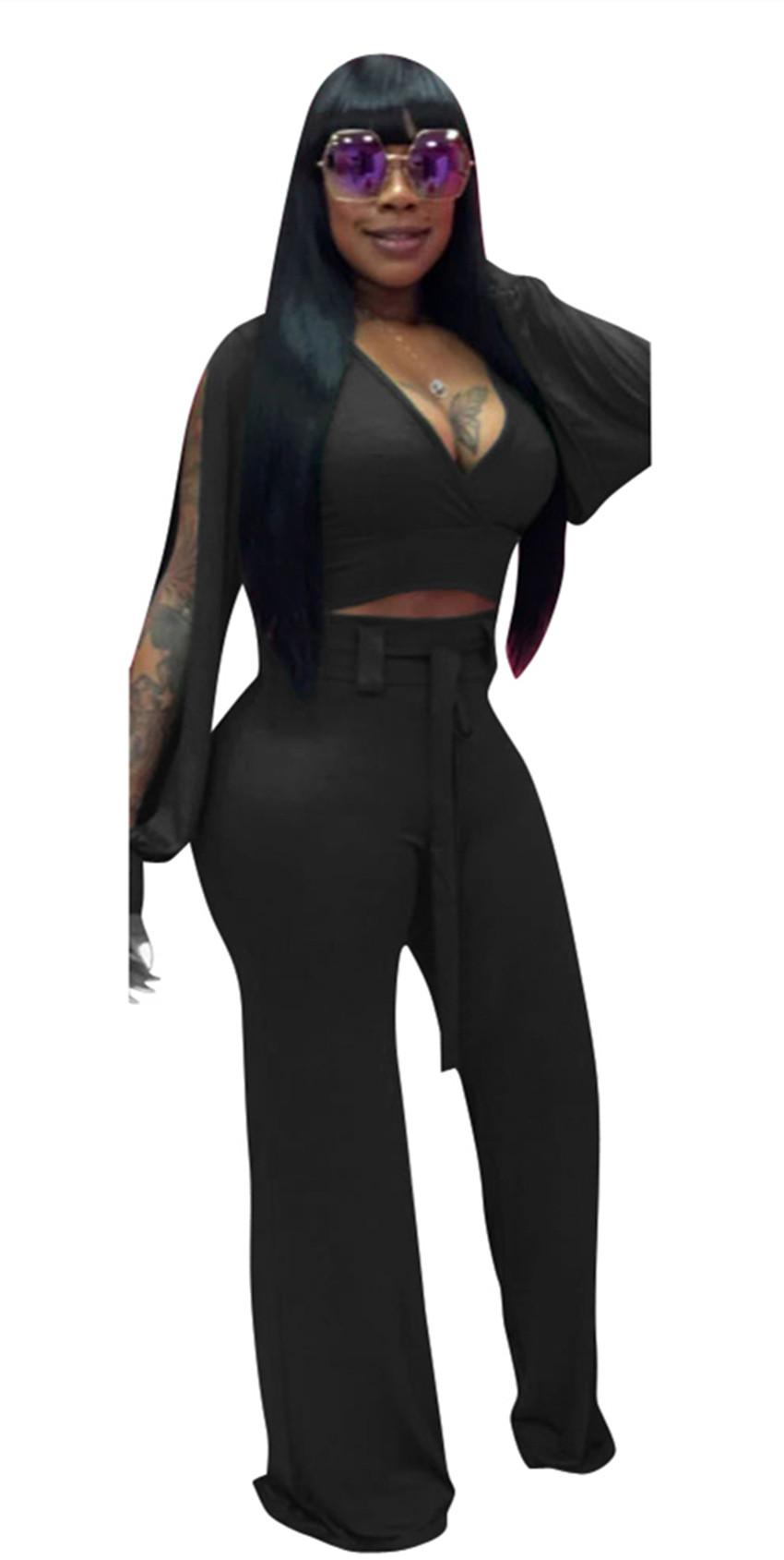 41b3897d8230 Women Sexy V-Neck Long Sleeve Jumpsuit Black. Loading zoom