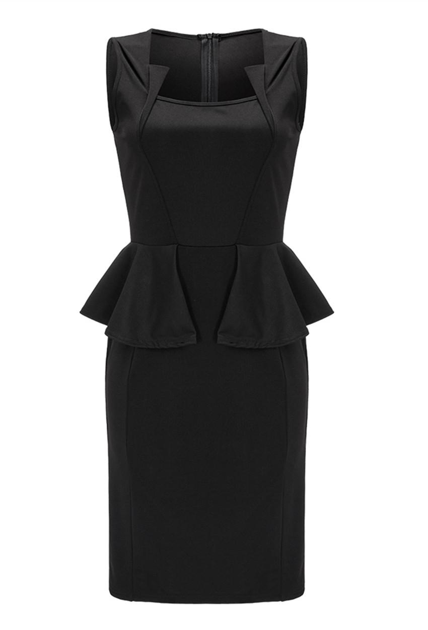 2017 Womens Sleeveless Ruffle Side Bodycon Midi Dress Black