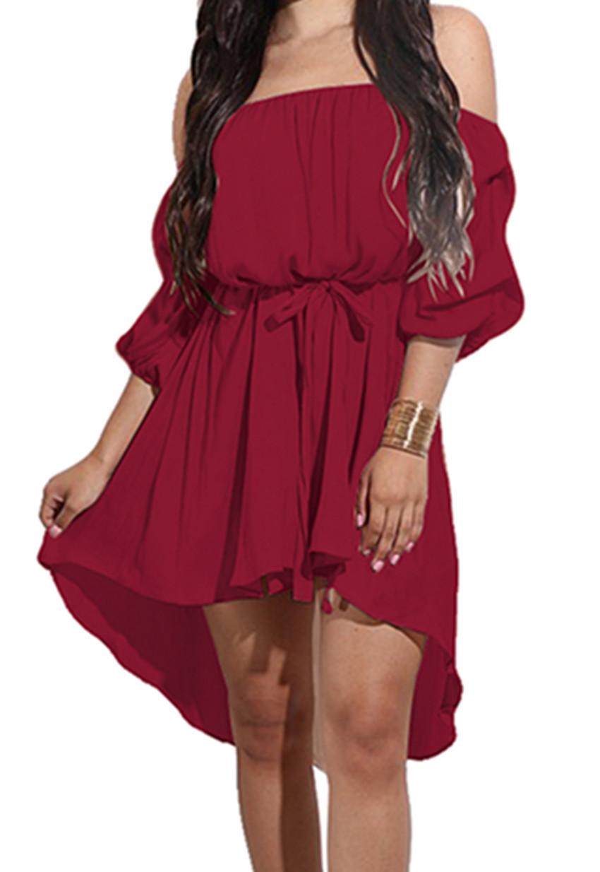2017 Women S Off Shoulder Half Sleeve Ruffle Mini Dress