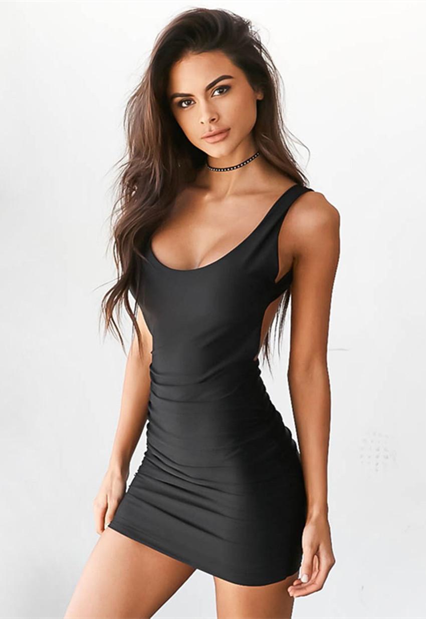 Women S Scoop Neck Sleeveless Bodycon Mini Tank Dress Black