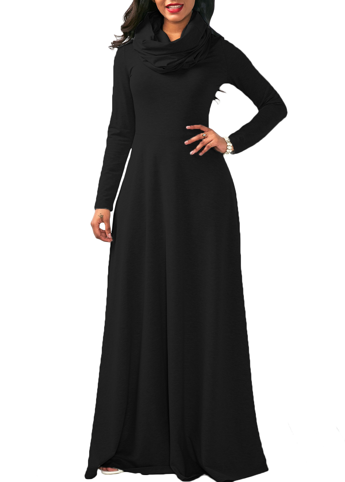 Cow Neck Long Sleeve Maxi Dress