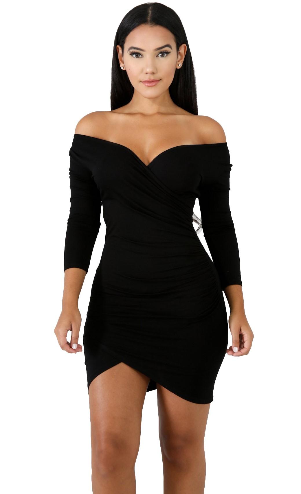 Black v neck bodycon dress on sale