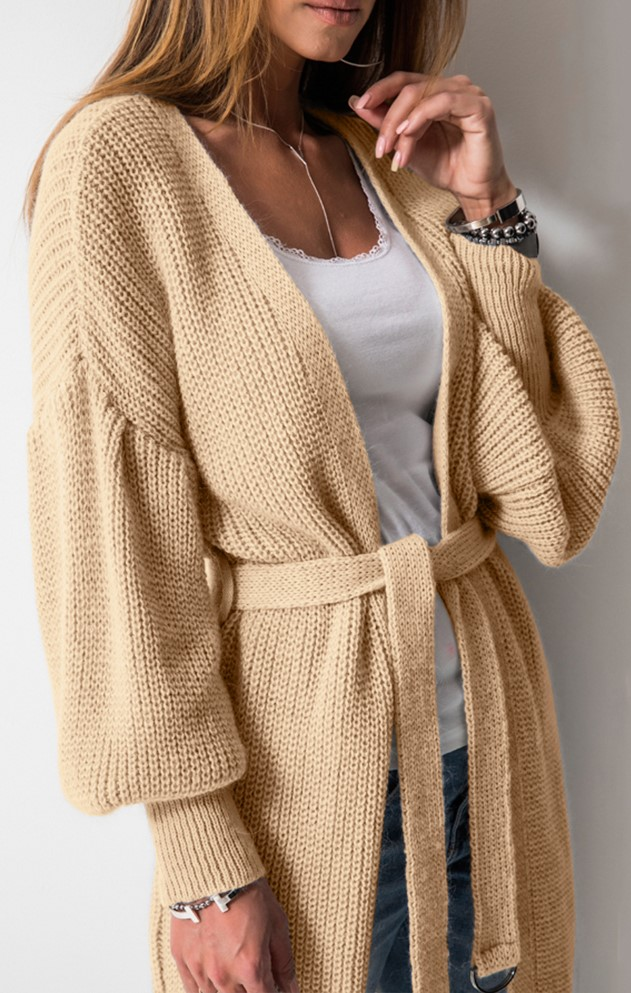 Apricot Bell Sleeve Cardigan Sweater