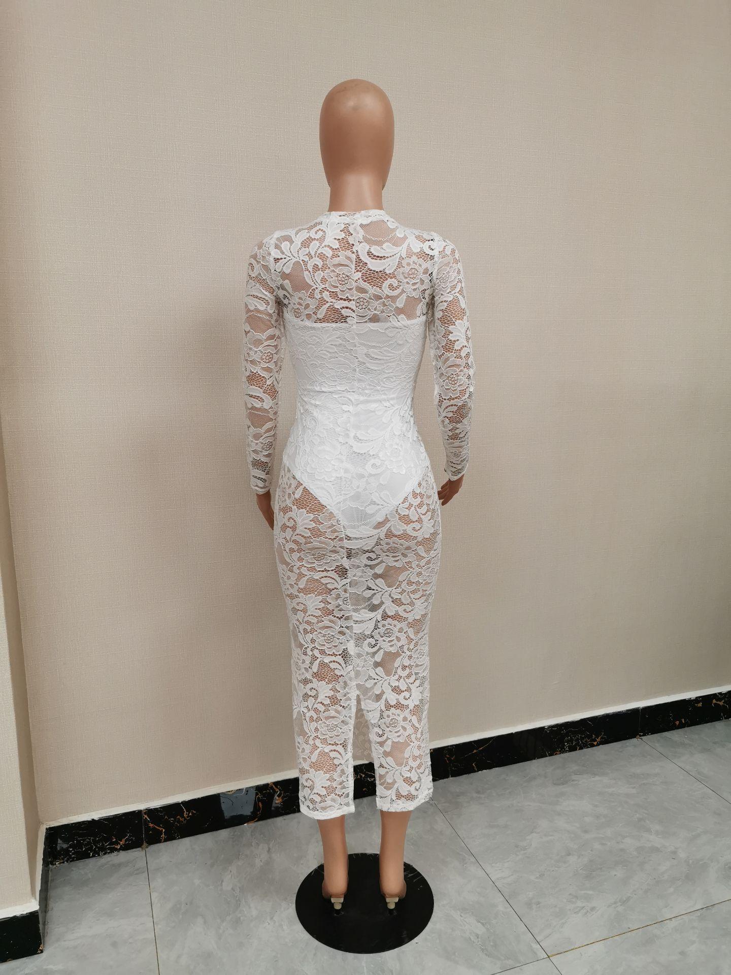 White Caged Long Sleeve Lace Bodycon Dress O Neck Bodysuit