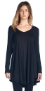 Womens Long Sleeve Round Neck Tunic Dress Black