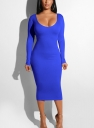 Women Sexy Bandage  Dresses Hollow out  Bodycon Dress Blue