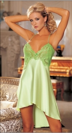 Newest Low Cut Backless Women Lingerie Chiffon Shoulder Strapes Babydoll Light Green