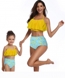 2 Pieces  Fresh Atrovirens Strappy Mommy and Me Scollop Edge Swimsuit