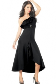 Black One Shoulder Buckle Gown