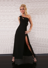 One Shoulder Black Sexy Party Maxi Dress Open Back Evening Dress