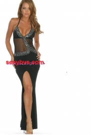 Black sequin long gown