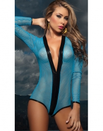 Blue Net Long Sleeve Bodysuit