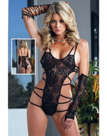 Exotic Floral Lace Diamond Teddy Black