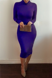 Sexy Ladies Warm Turtleneck Long Sleeve Solid Slim Bandage Dress Blue