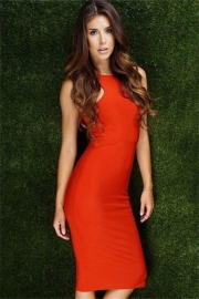 Hot Women's Sexy Graceful Soft Nightclub Vest Bodycon Dress Orange