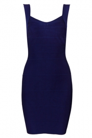 Halter Slim Sleeveless Backless Bandage Dress Blue