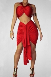 Two Pieces Sleeveless Bowknot Tie Design Bandage Dress Red