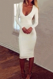 Spring Long Sleeves Plunge Neck Hollow Out Back Bandage Dress White