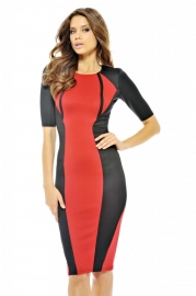 Women fashion long bandage dress red