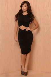 Sexy Sleeveless Draped Navel Revealing Night Club Bandage Dress Black