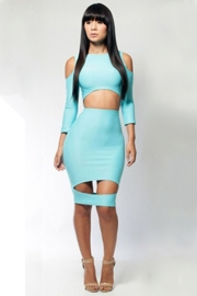 Light blue wholesale lady's bodycon dress