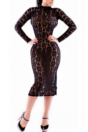 Sexy Mesh Trim Splice Bodycon Dress Black
