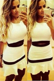Sleeveless black and white two pieces dress white