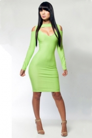 Green wholesale lady's bodycon dress