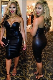 Black Sexy Women's Halter Strapless Bodycon Dress