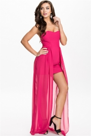Sexy Strapless V Neck Party Evening Dress Rosy