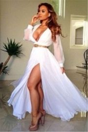 White Chiffon Sexy Deep V-neck With High Slit Vestidos Evening Dress (Without Belt)