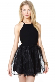 Black Cross Open Back Party Skater Dress