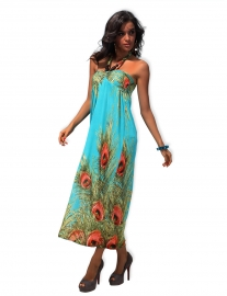 New style feathers print  long dress blue