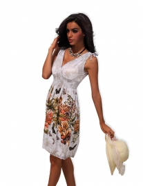 Vintage Style Plunging Neckline Flower Print Sleeveless Maxi Dress